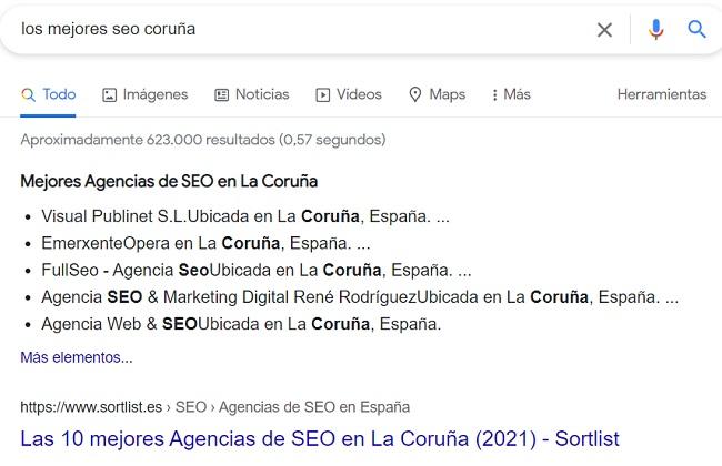 buscando en el mejor buscador de internet Google Los Mejores SEO Coruña