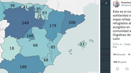 Mapa de la Solidaridad de las Regiones de España con los Refugiados Afganos